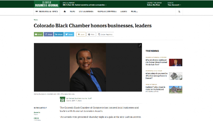 Denver Business Journal – Colorado Black Chamber honors businesses, leaders