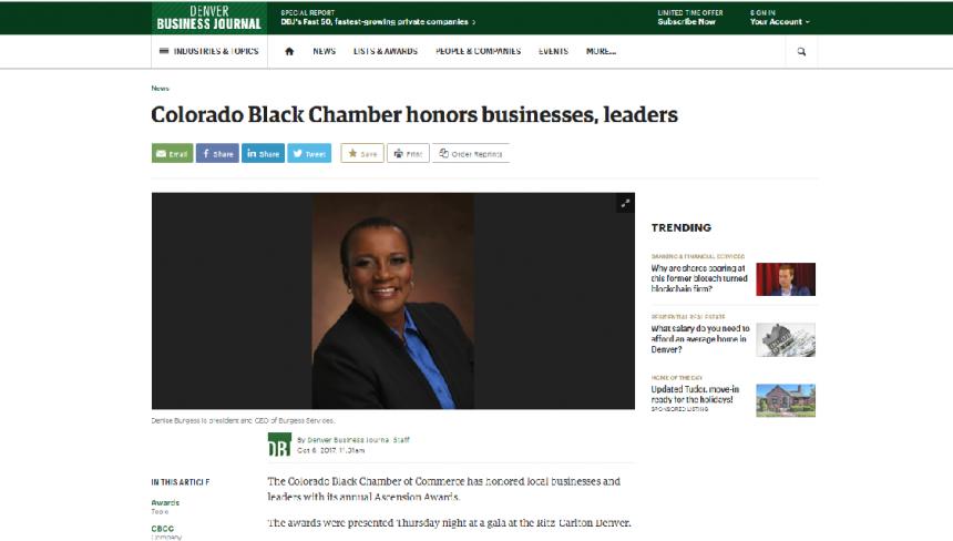 Denver Business Journal – Colorado Black Chamber honors businesses, leaders